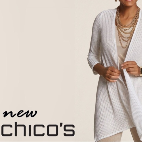 Chico's Sweaters - Chico's Traveler White Knit Tilly Cardigan Jacket